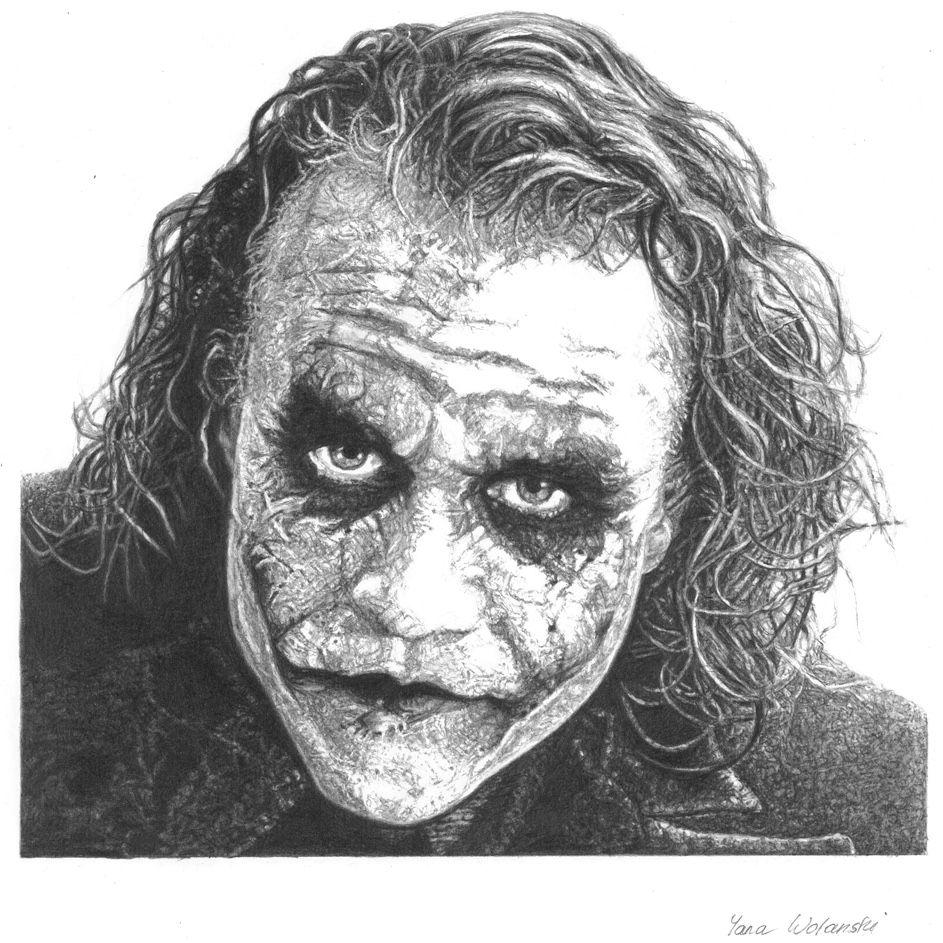 The joker pencil portrait joker heathledger batman thedarkknight yanawolanski pencil portrait drawing badboy