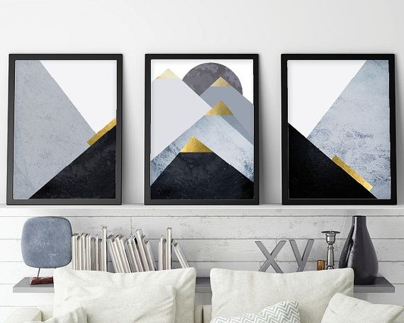 Set Of 3 Downloadable Prints Set Printable Mountains Triptych Etsy Scandinavian Wall Art Printable Art Set Mountain Wall Decor