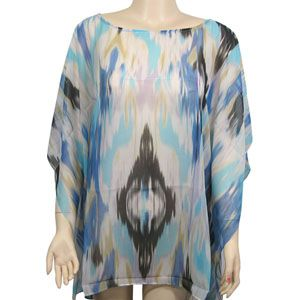 Beach Poncho Cover up Watercolor Print Blue $12