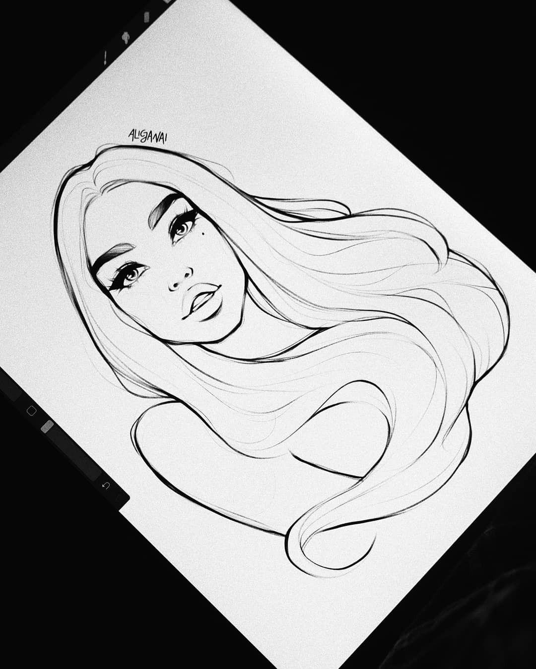 Digital Sketch of A Girl on iPad, Procreate  by AlicjaNai