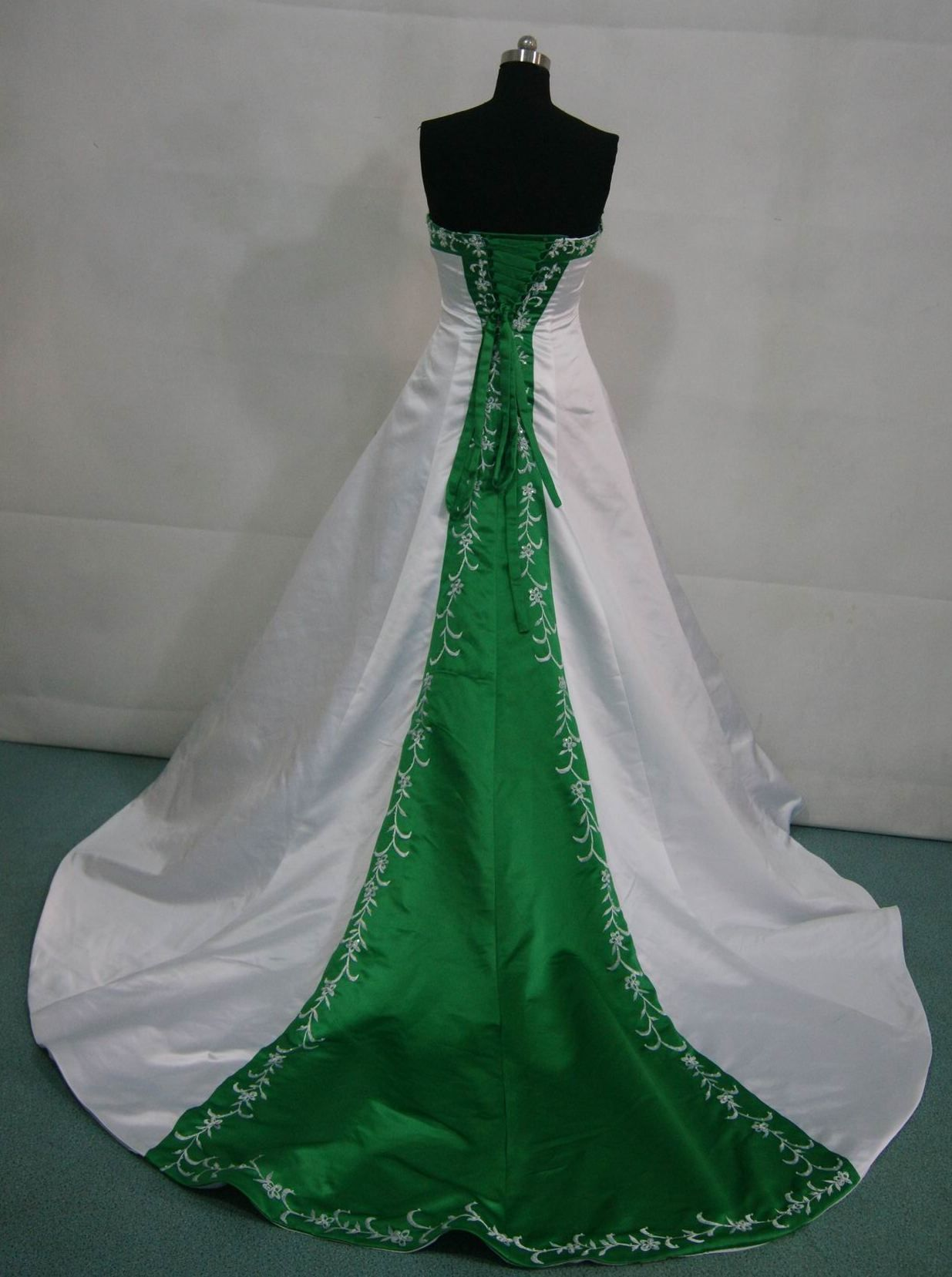 White and green wedding gown keywords weddings for White and turquoise wedding dresses