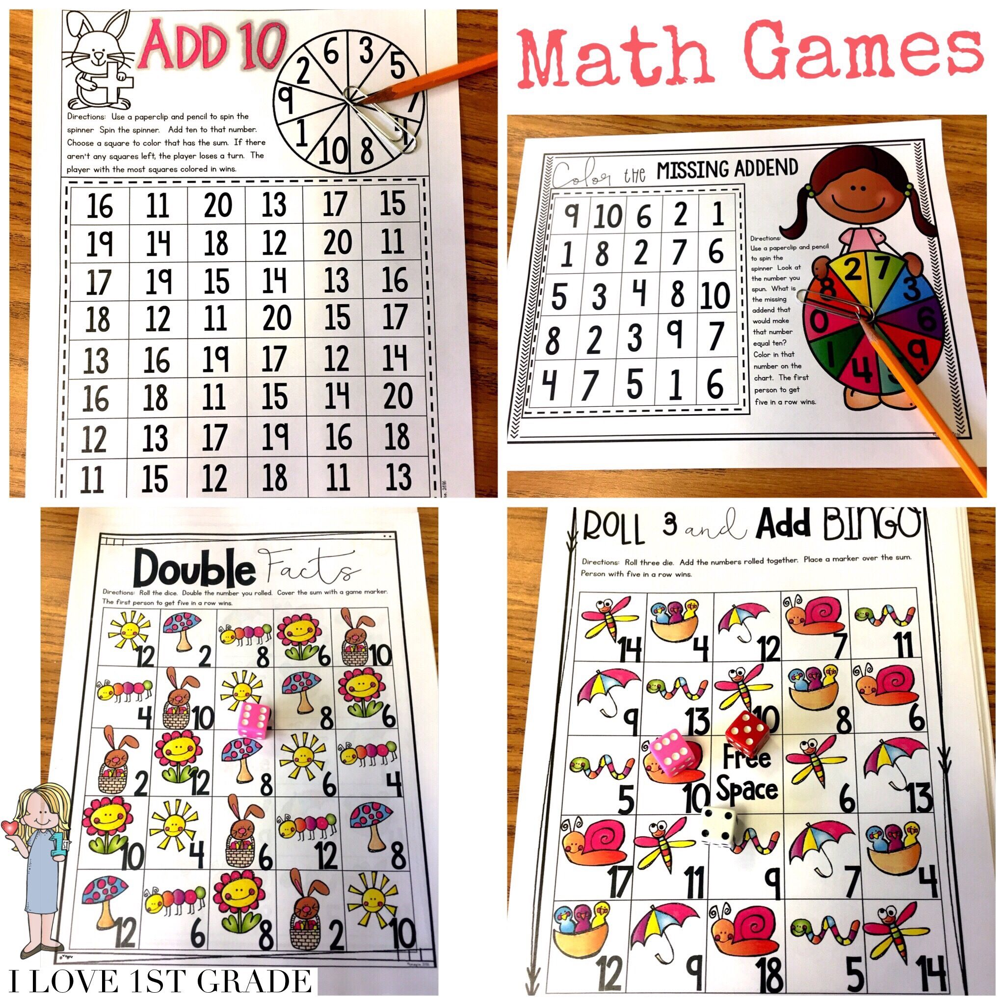 First Grade Math Games - End of Year | Math skills, Math and Students