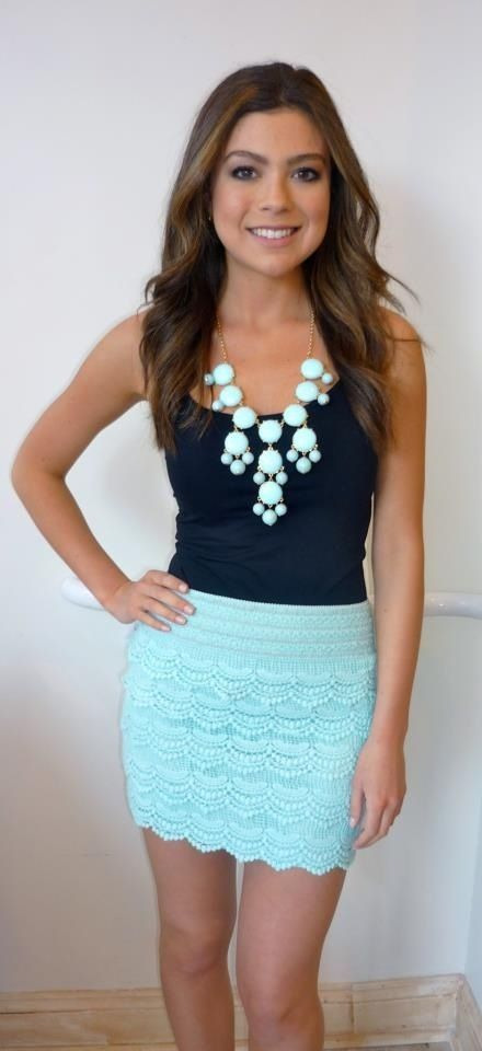 aqua lace skirt, navy blouse, aqua statement necklace   (I'm getting pinspiration for my new mint skirt)
