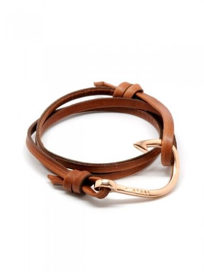 Rose Gold Hook On A Brown Leather Bracelet By Miansai