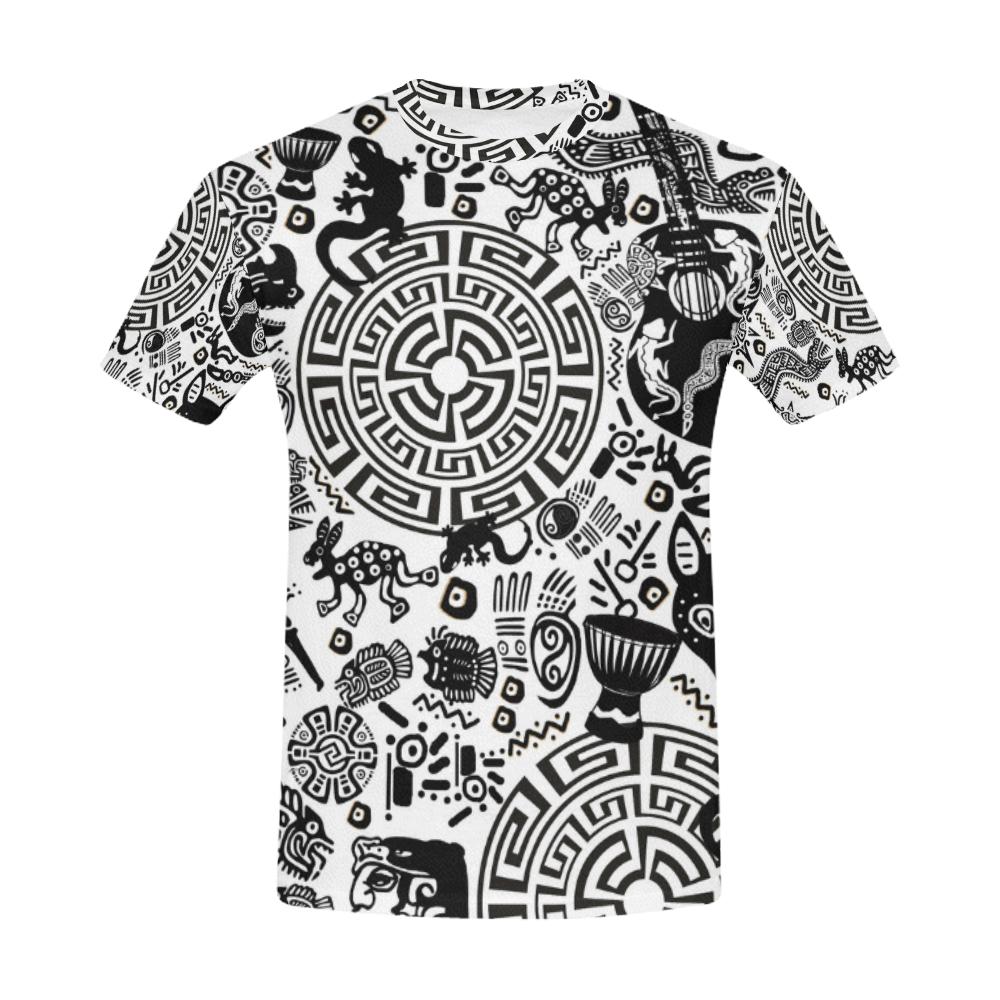 Mayan Primitive Symbol Art Print Shirt All Over Print T Shirt For