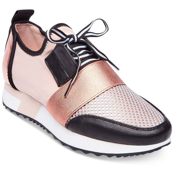 f85955b3 Steve Madden Antics Jogger Sneakers ($89) ❤ liked on Polyvore featuring  shoes, sneakers, rose gold, steve madden trainers, mesh shoes, stretch  sneakers, ...