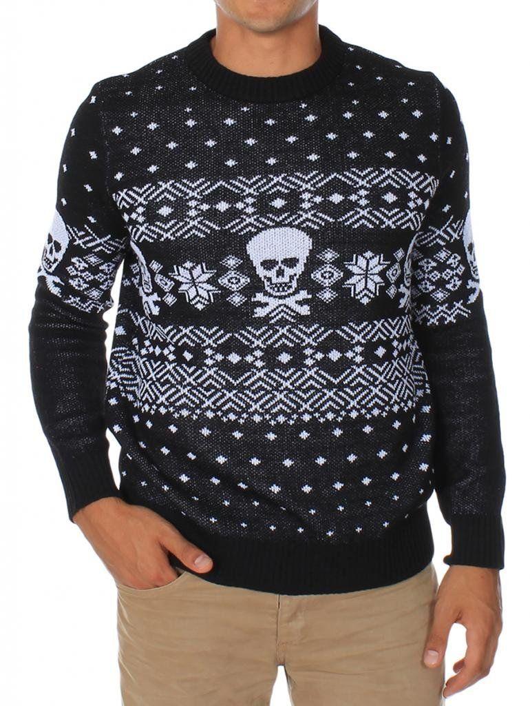 Men's Skulls and Cross Bones Fair Isle Ugly Christmas Sweater ...