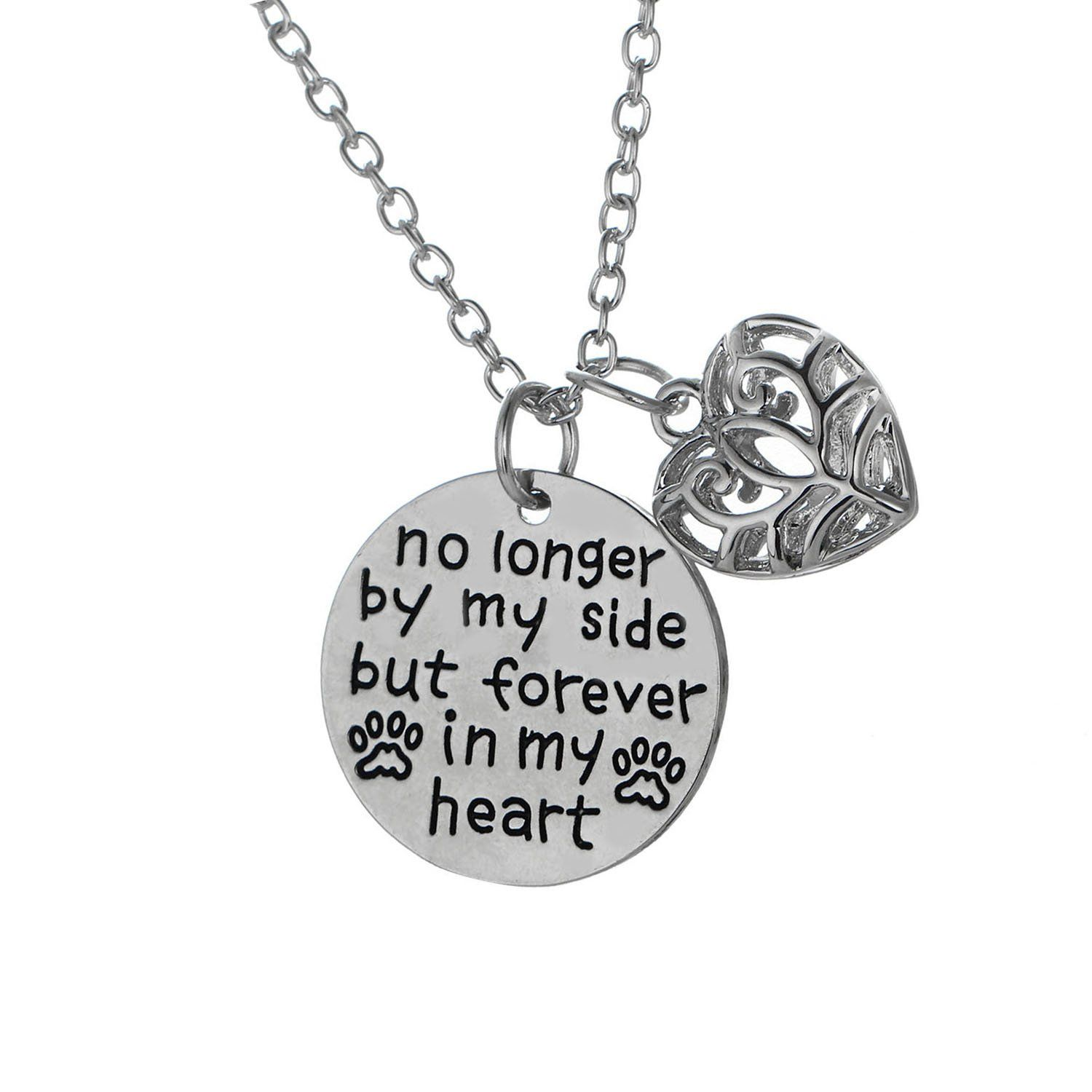MayLove No Longer by My Side Forever in My Heart Necklace Hollow Heart Pendant Inspirational Jewelry