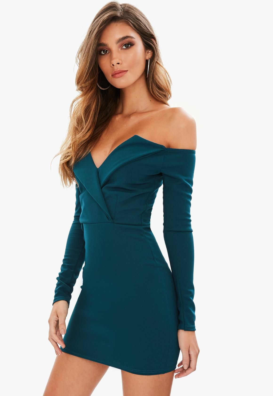 ec7f24f8e3 Missguided - Blue Bardot Wrap Over Dress