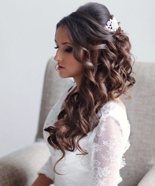 Side Swept Long Curly Bridal Hairstyles 2016