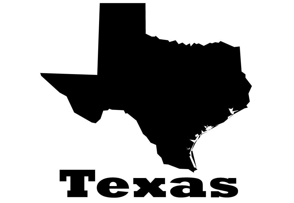 Silhouette Texas Texas State Map Silhouette Vinyl Wall Decoration With