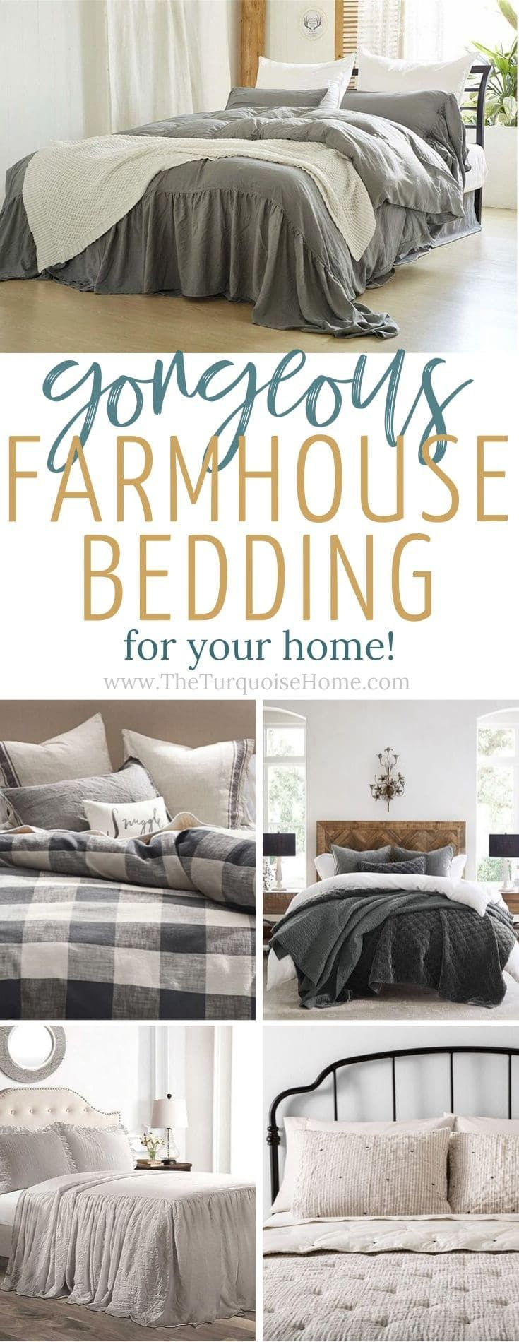 Gorgeous Farmhouse Bedding To Add To Your Room The Turquoise Home Farmhouse Bedding Farmhouse Bedding Sets Farmhouse Style Bedding