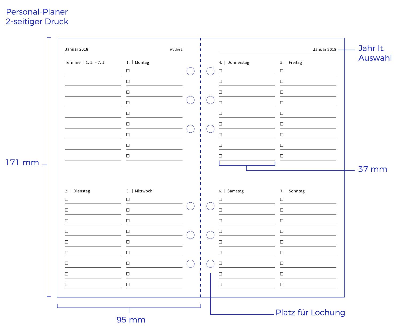 Maßangaben für die Kalendereinlage CHECK in der passenden Größe für ...