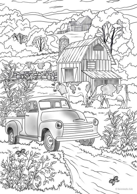 Country Car Printable Adult Coloring Page from Favoreads