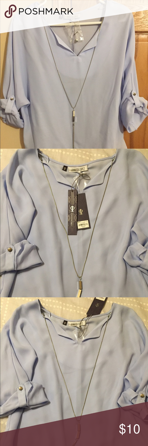 NEW Jennifer Lopez Blouse w/ Removable Necklace NWT Size XSmall Blouse in Lilac Blue. Soft polyester material with removable necklace. Jennifer Lopez Tops Blouses