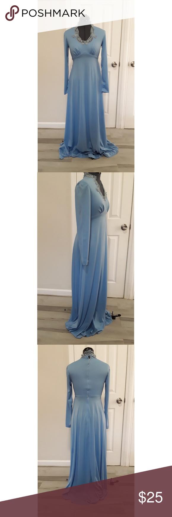 Vintage 70s Dress Formal Gown Empire Waist Vintage Dress 70s 70s Dress Formal Dresses [ 1740 x 580 Pixel ]