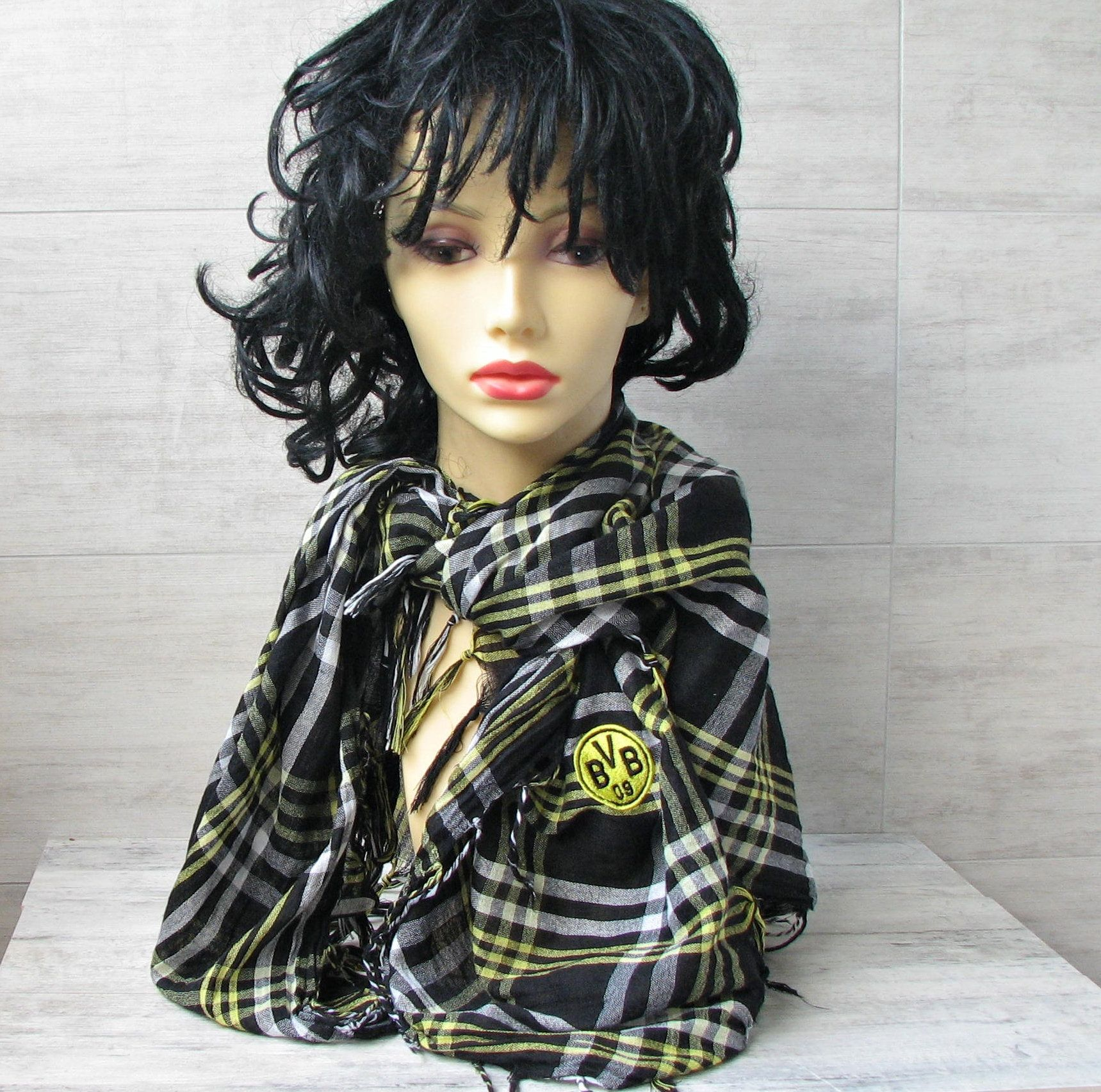 Black and yellow hair boy vintage square scarf cotton polyester chequered fabric women shawl