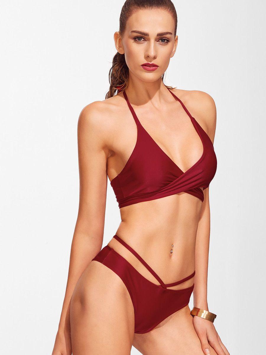 Cross Front Lace Up Halter Bikini Set Shein Sheinside Wrap Bikini Set Bikinis Halter Bikini