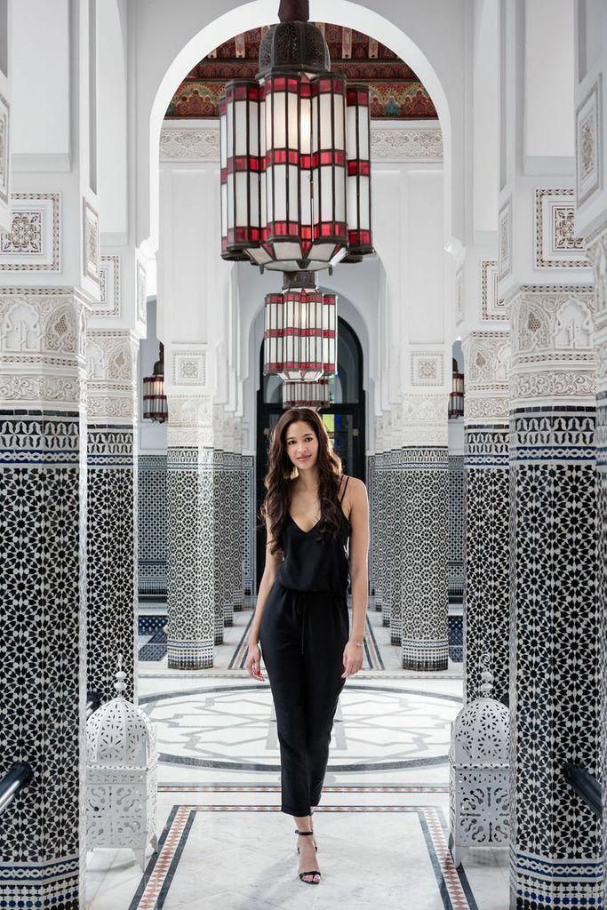 3458321c88e7 La Mamounia Marrakech Morocco Travel Blogger Black Jumpsuit Black on Black  Fashion Look Keir Alexa