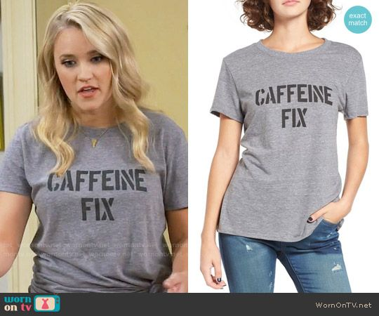 aebc520a837c Gabi s Caffeine Fix tee on Young and Hungry. Outfit Details  https