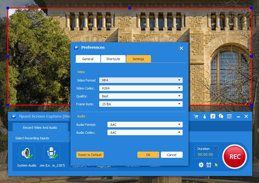 Tipard Screen Capture Setting Screen Recorder Screenshot