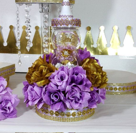 Girls Princess Baby Shower Centerpiece With Lavender Baby Shower