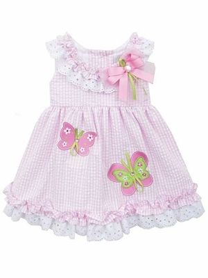 3cb72b27ad9b Rare Editions Baby Girls Pink Gingham Sleeveless Butterflies Dress with  Eyelet Trim