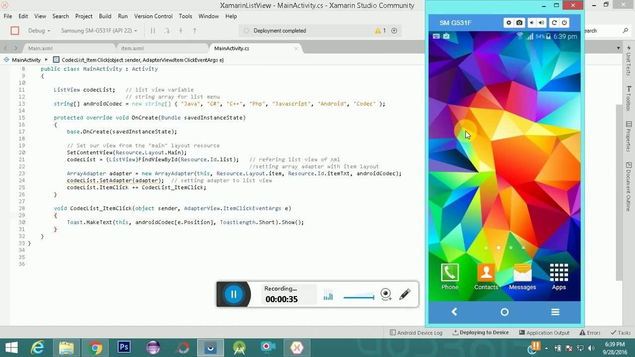 Xamarin Custom ListView Example Android | Android Codec | Xamarin