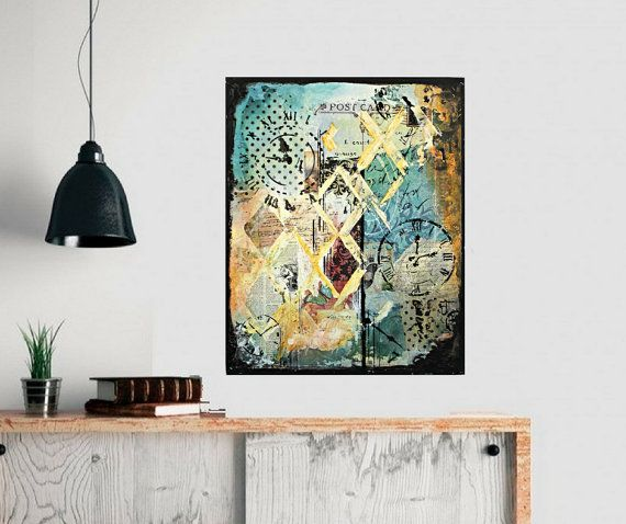 Abstract painting wall art vintage also original blue diamond mixed media collage by crystal renee rh pinterest