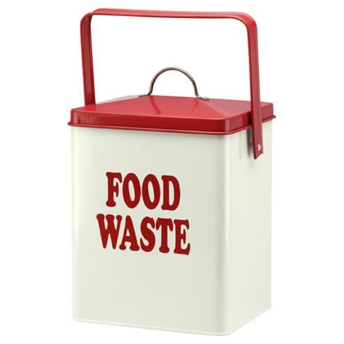 6L Metal Food Waste Caddy With Lift Off Red Handle