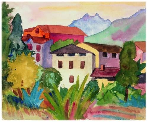 Dorf Aquarell 7 August 1923 Bunte Kunst Naive Kunst
