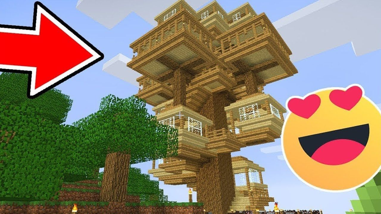 How To Build A Cool Tree House In Minecraft Tutorial With