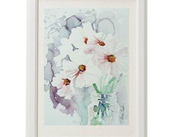 White Narcissus daffodil watercolor painting door JuniperPaintings