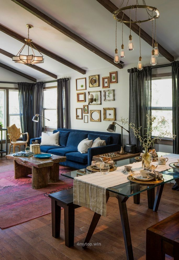 Eclectic design ideas with Cool blue sofa dark… http://www.4mytop ...