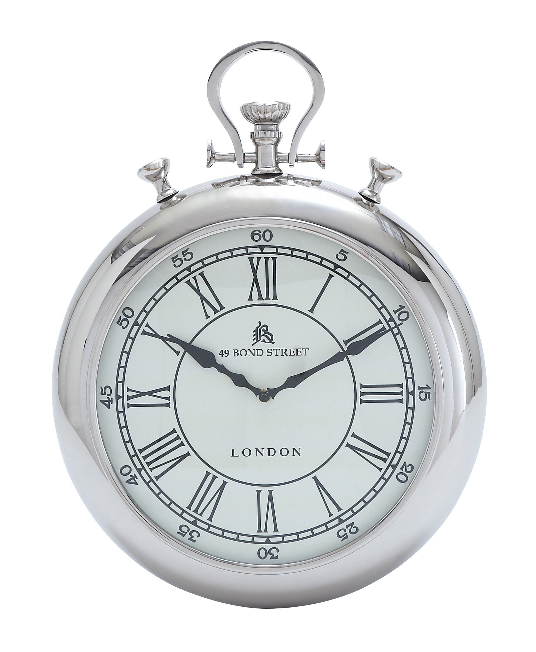 Pocket Watch Design Silver Chrome Finish Wall Clock Accent