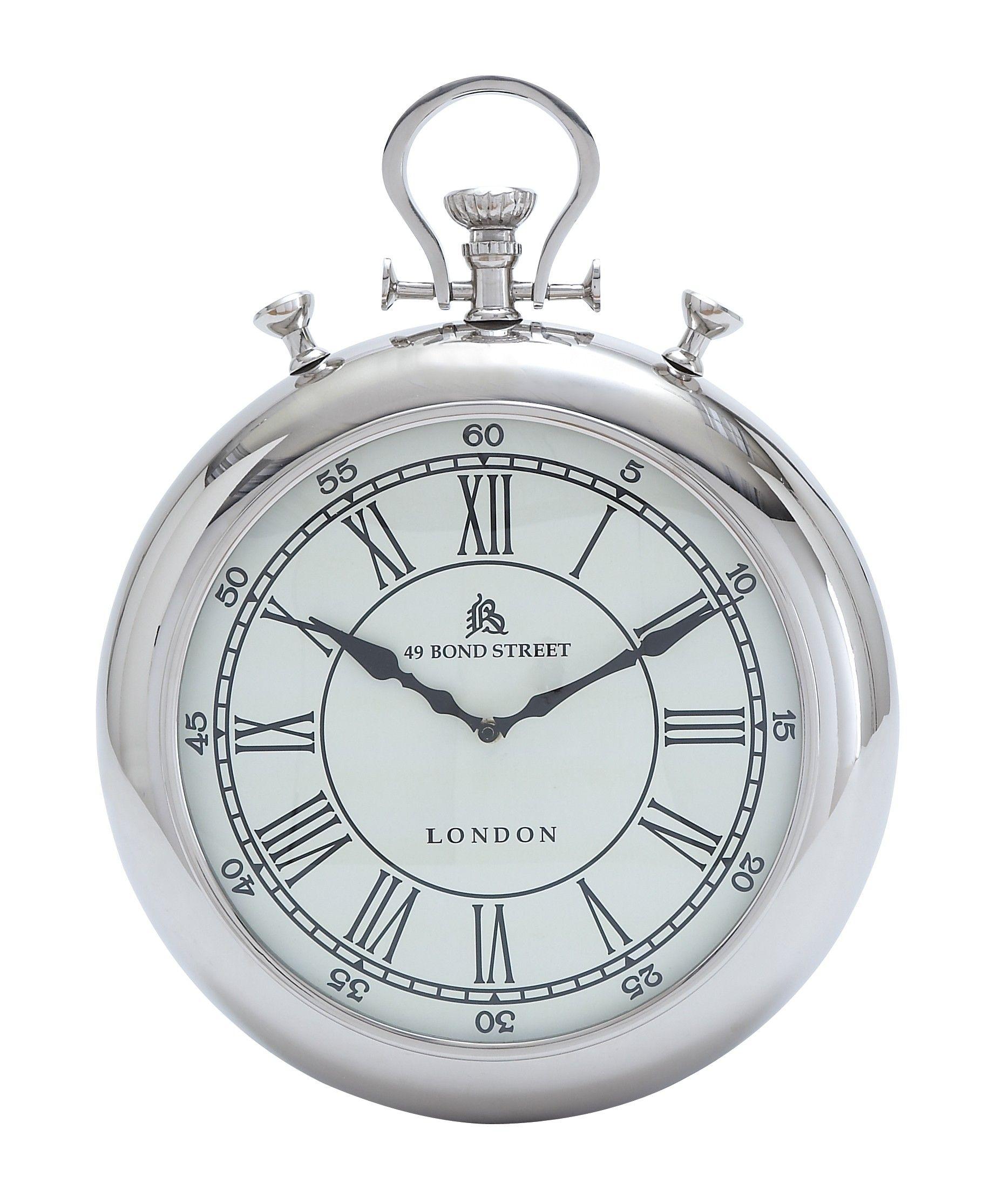 pocket watch design silver chrome finish wall clock accent on wall clocks id=78755