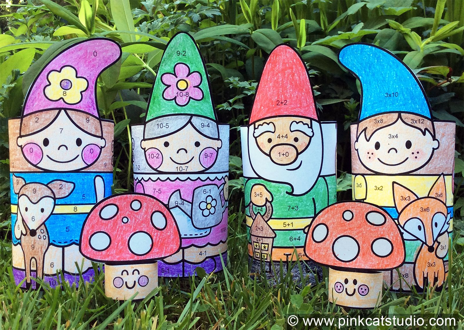 Spring Craft Garden Gnomes 3d Characters Math Coloring