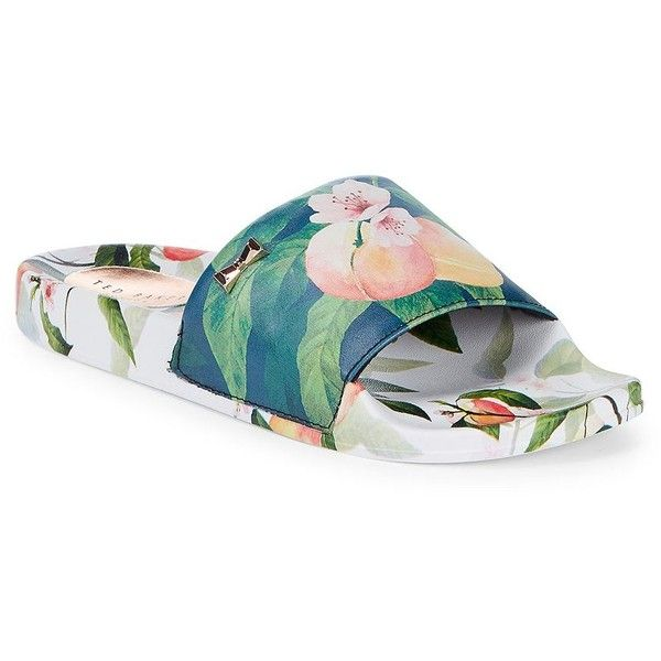 7a0addd124a2 Ted Baker London Women s Aveline Floral-Print Slides ( 95) ❤ liked on  Polyvore featuring shoes