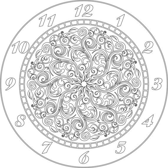 Clock face vector file eps for v bit cnc carving by