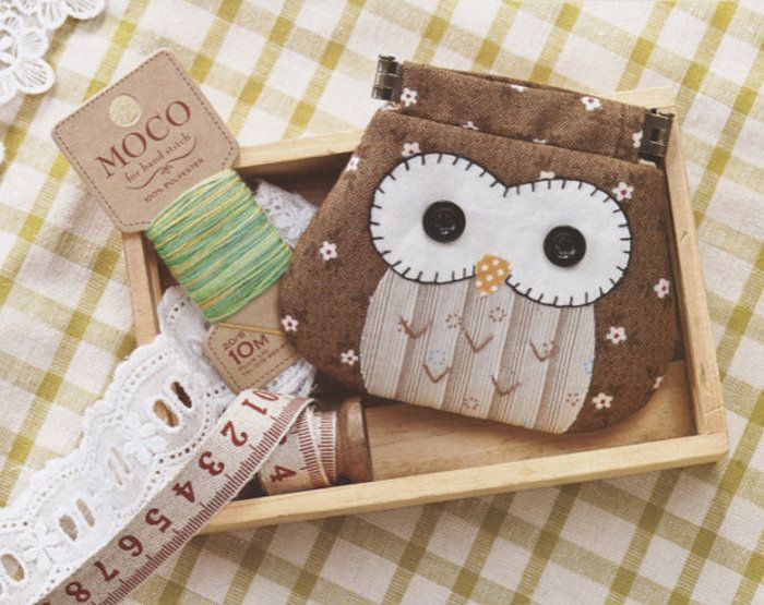 How to make Owl coin purse Bag Handbag Wallet hand embroidery stitch sewing applique patchwork quilt PDF pattern E Patterns ebook