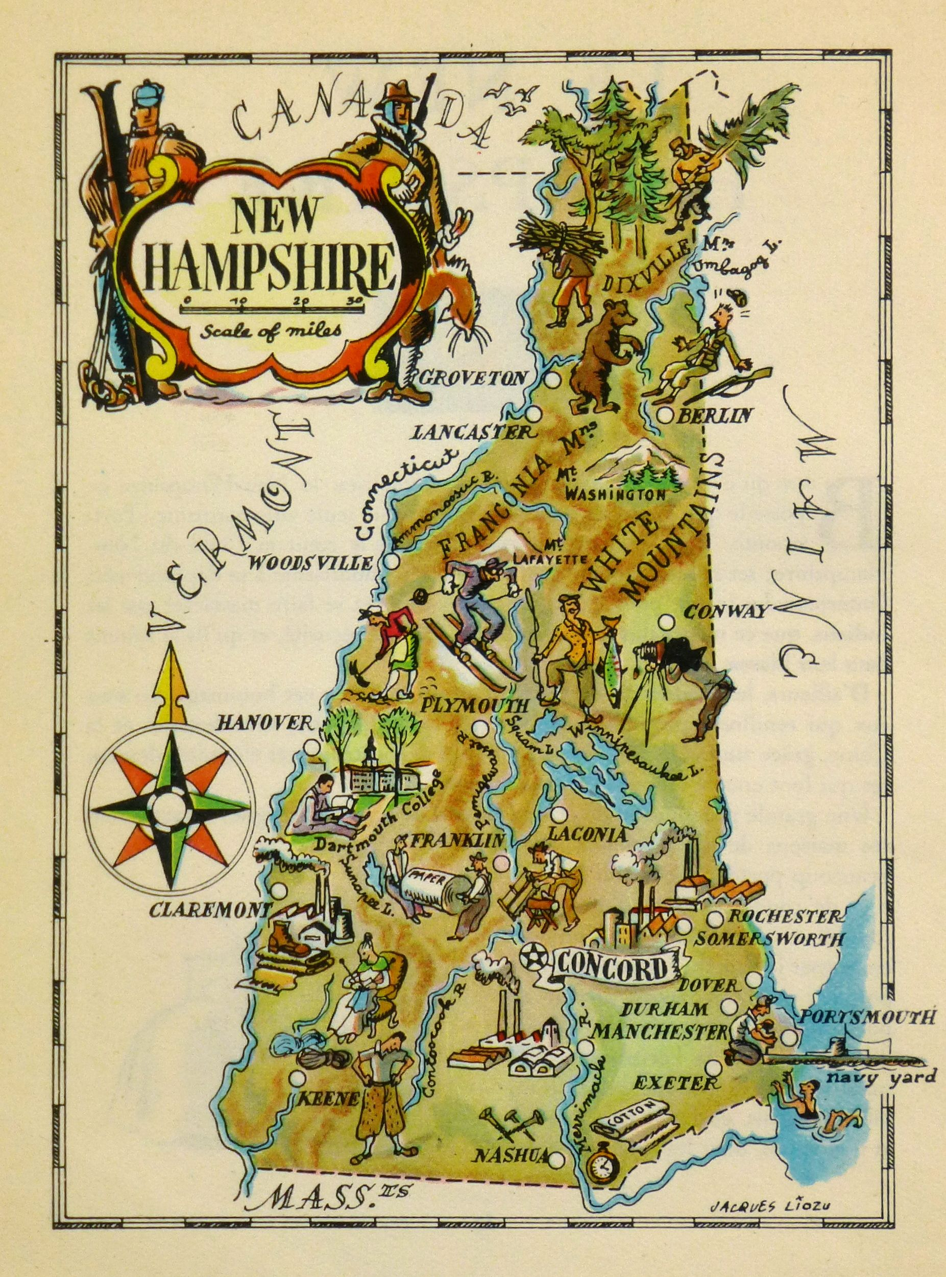 Vintage Pictorial Map Of New Hampshire By Jacques Lizou In - New hampshire on map of usa