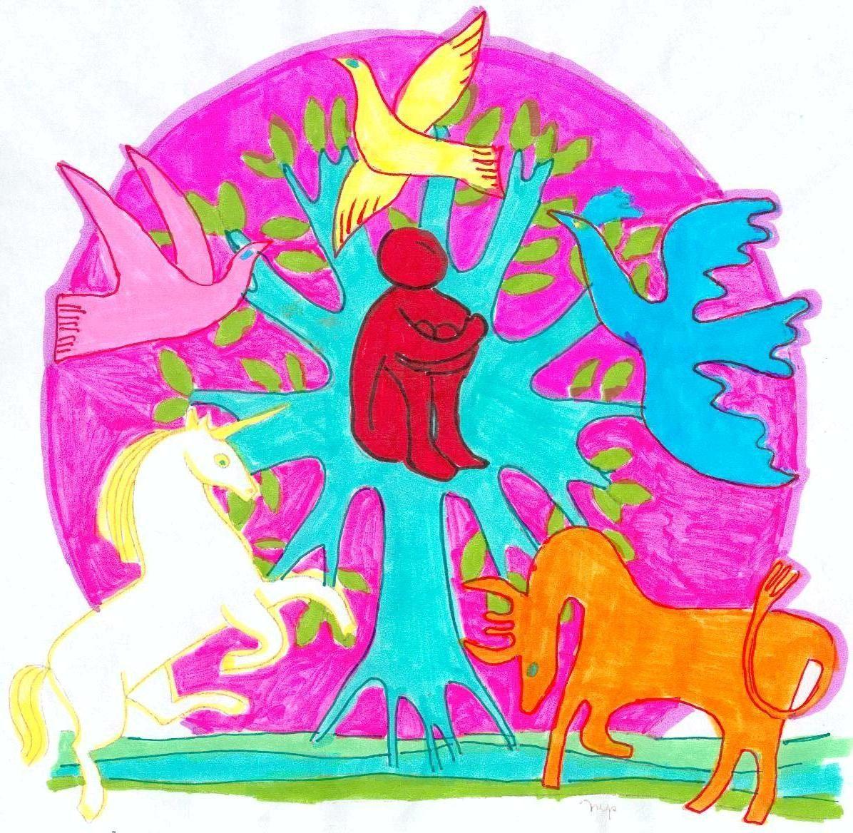 Coloriage Homme Cheval.Sanctuaire Coloriage D Une Licorne D Un Cheval D Un Homme Sur Un