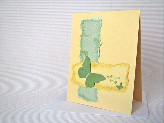 Welcome baby card butterfly stamped shabby by QuirkynBerkeleyCards, $5.00