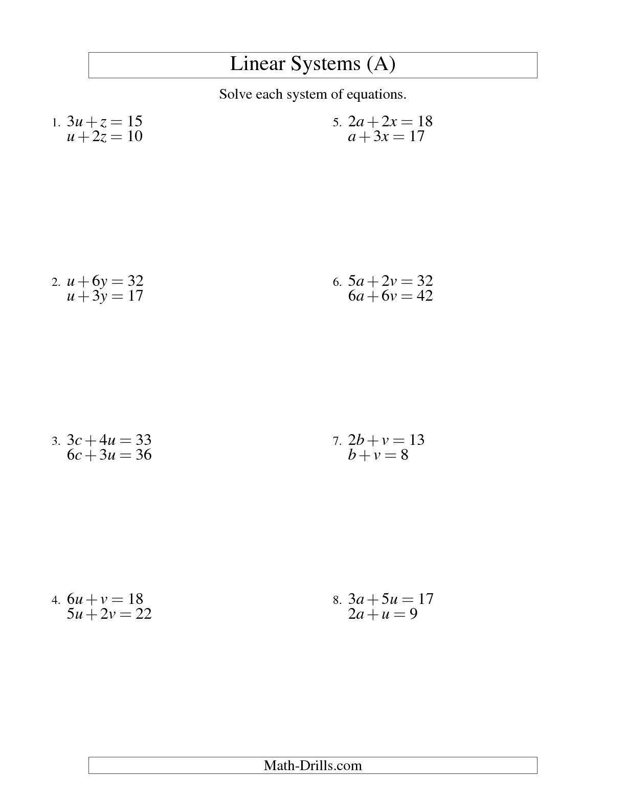 The Systems of Linear Equations -- Two Variables (A) math worksheet from  the Algebra Worksheet page a…   Algebra worksheets [ 1584 x 1224 Pixel ]