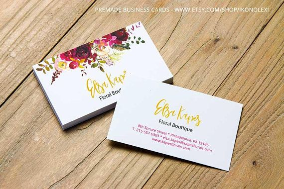 Business card design watercolor flowers premade business cards business card design watercolor flowers premade business cards feminine business cards custom colourmoves