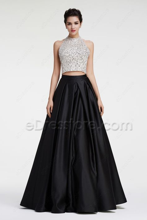 Black And White Beaded Sparkly Ball Gown Two Piece Prom Dresses