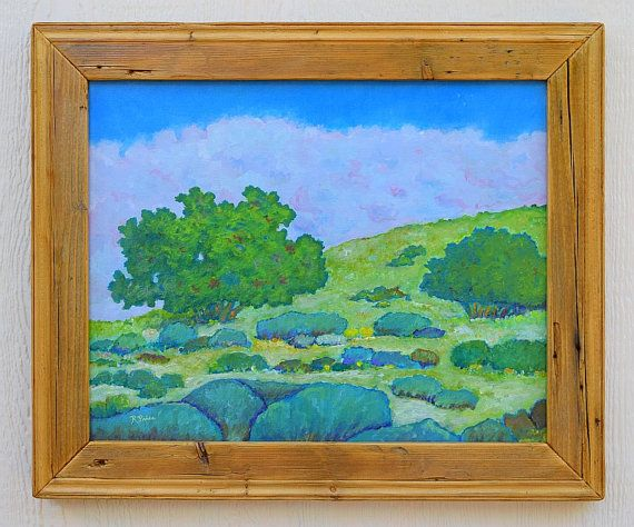 Prairie landscape painting, vivid trees, bushes, hills and clouds , recycled wood frame, handmade, scenic, Robert Price, art, acrylic
