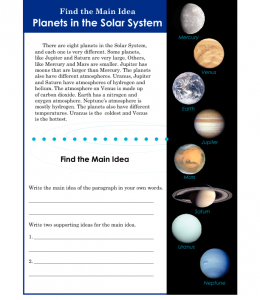 3rd or 4th grade main idea worksheet about planets reading strategies word work main idea. Black Bedroom Furniture Sets. Home Design Ideas