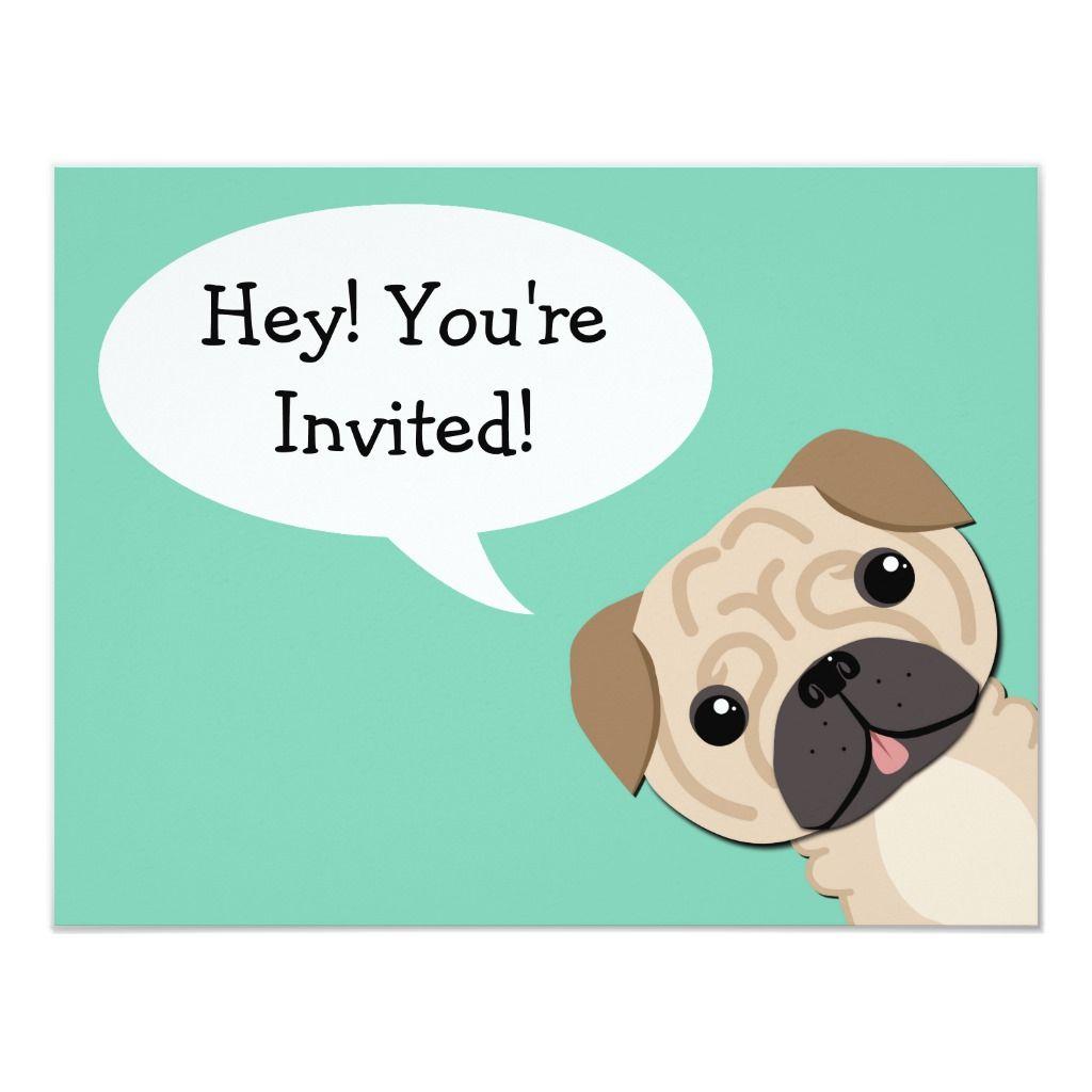 Simple Pug Birthday Invitation Zazzle Com In 2020 Birthday