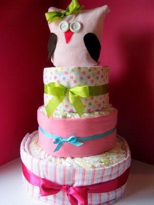 Owl diaper cake DIY